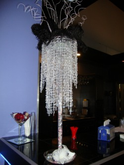Photo of  Winter Wedding Centerpiece with long crystals