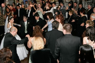 Guests dancing to the reception music