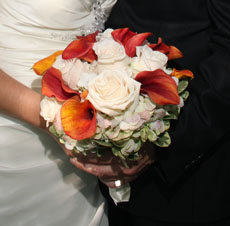 Autumn Wedding Bouquet with red and orange flowers