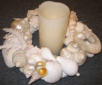 Candle centerpiece with shells