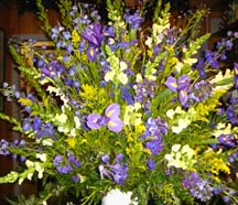 Blue Flowers with yellow posies