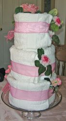 Bridal Shower Centerpiece Ideas of a towel cake