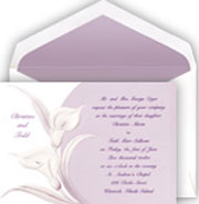 Calla Lily Wedding Invitations in white and purple
