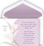 Calla Lily Wedding Invitations in white and purple