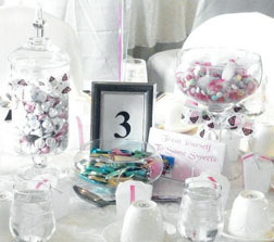 Candy Centerpieces in a Jar and Glass
