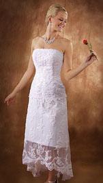 Tea Length Casual Beach Wedding Dresses with lace