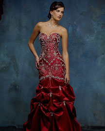 Gorgeous slinky red Christmas wedding dresses with rhinestones