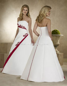 Christmas wedding gowns white with red beading