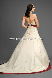 Christmas wedding gowns white with red outline