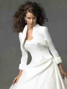 Christmas wedding gowns with white jacket with fur