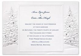 Christmas wedding invitations with Christmas trees