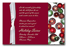 Christmas wedding invitations with Christmas ornaments