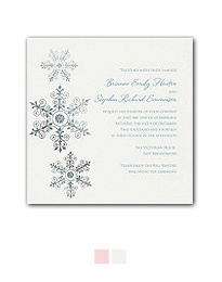 Christmas wedding invitations with snowflakes