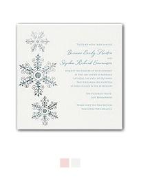 Christmas wedding invitations with snowflakes