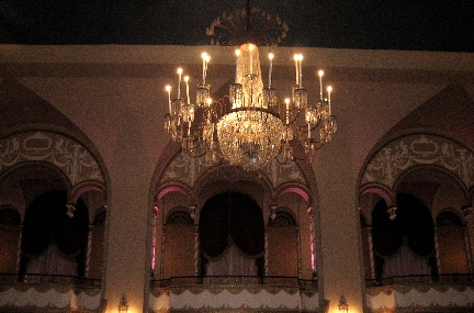 Reception hall with large chandelier