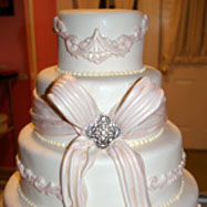 Cinderella theme wedding cake with a bow