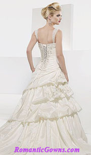 Corset wedding dresses with bustle in the back