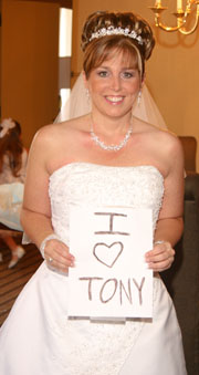 Design your own wedding dress with a love you sign