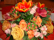 Fall wedding ideas table centerpiece with fall flowers