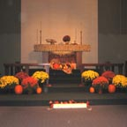 Fall wedding ideas of alter decorated with fall flowers