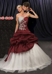 Gothic style wedding dresses with red and white gowns
