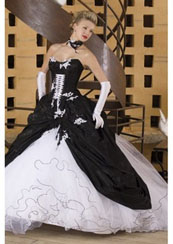 Gothic style wedding dresses in white and black