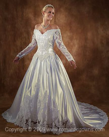 Old fashion wedding dress long sleeves