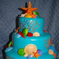 Beach  Wedding Cake with starfish and sand dollars