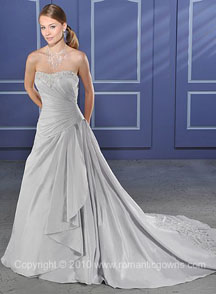 Silver wedding dresses with train
