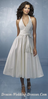 Halter top tea length wedding dresses