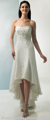 Tea length wedding dresses high/low hemline
