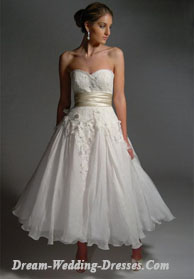 Tea length wedding dresses with flared skirt