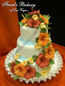 Tropical wedding cake with hibicus