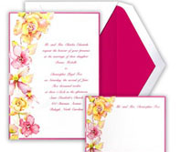 Tropical wedding reception themes colorful invitations
