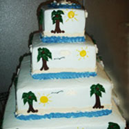Tropical wedding reception themes wedding cake