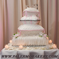 Beautifully decorated wedding cake with pink embllishments