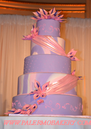 Pink and purple wedding cake