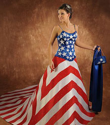 Unusual wedding dresses with American flag design