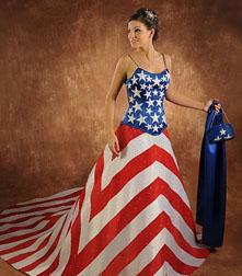 Unusual wedding dresses with American flag design