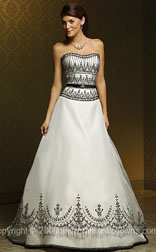 Unusual wedding dresses with white and silver