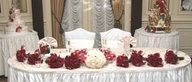 Reception decorations of flowers and candles