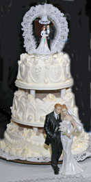 Old fashioned wedding cake photo