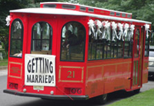 Wedding Car Decorations Bus with a Getting Married sign