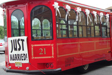Bus with Just Married Sign for Wedding Car Decorations