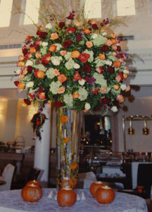 Fall Wedding Flower Arrangement Ideas with Pumpkins