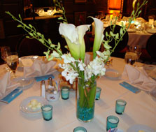 Calla Lily wedding flower centerpieces surronded with tea light candles