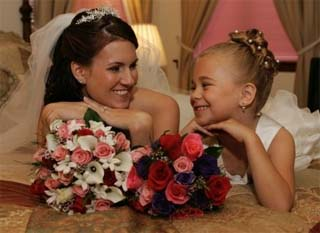 Wedding photography poses with bride and flower girl