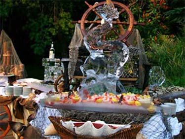 Reception hall with ice sculpture and raw bar