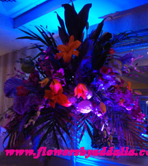 Wedding Reception Centerpieces with up lighting