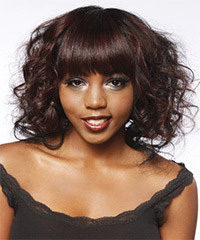 Wedding hairstyle for African American with shoulder length hiar